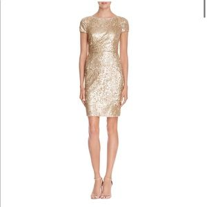 Adrianna Papell Sequin gold cocktail dress